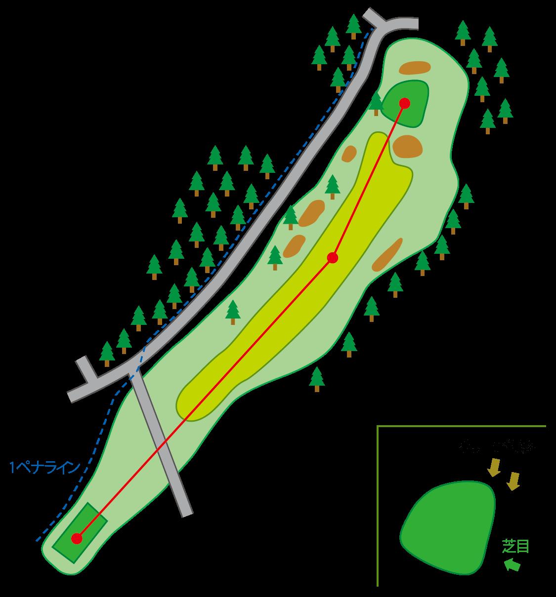 阿賀コース HOLE9のコースマップ