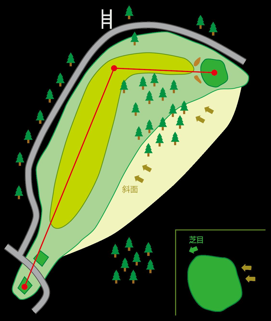 五頭コース HOLE9のコースマップ